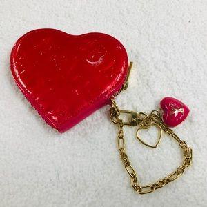LOUIS VUITTON HEART COIN PURSE RED/PINK VGC TH4098